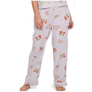 Poppy Print Pajama Pants:  light blue multi